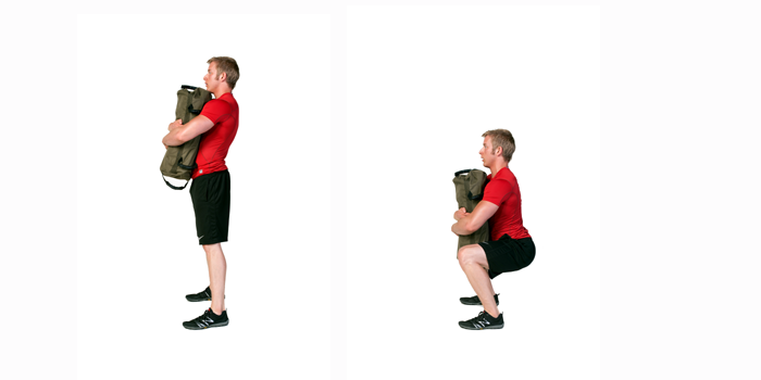 Squat using Bear Hug Grip